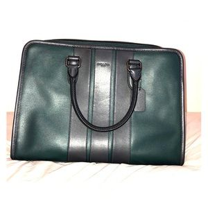 Coach Men's Bond Briefcase in Smooth Green Leather